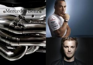 Stávající Nico Rosberg s novým týmovým kolegou Lewisem Hamiltonem, to vše v týmu Mercedes-Benz!